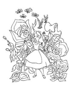 alice in wonderland singing flowers white background - Google Search