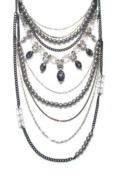 Black Chain and Silver Bead Statement Necklace