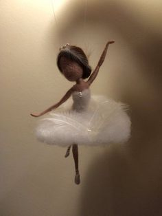 Needle felted fairy Waldorf inspired Wool White Swan by DreamsLab3