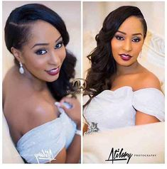 Dark Lips and Shimmery Eyes. Glam Bridal Reception Makeup. Beautiful African-American/Afro-Caribbean Bride.