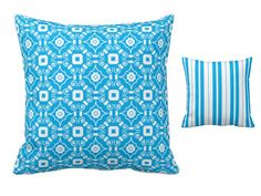 This cereulean blue pillow is two pillows in one.  Loving the stripe on one side and the engineered scarf print on the other.