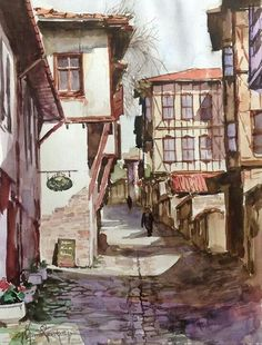 Yusuf Kemal Çankaya Oil Painting Pictures, Pictures To Paint, Watercolor City, Watercolour Painting, Pintura Colonial, Turkish Art, Beautiful Paintings, Art And Architecture, Art World