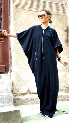 NEW SPRING Collection  Black  Kaftan / Maxi Black French Terry  Cotton Dress / Asymmetrical Zipper Caftan Dress by AAKASHA_A03163 by Aakasha on Etsy