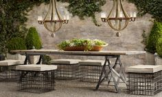 outdoor space - table from Restoration Hardware