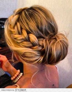 Beautiful up-do with a side braid.