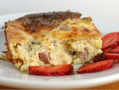 Made this for breakfast one day and we couldn't get enough. Delicious! And anything that has 3 steps (Preheat oven, mix, pour into pan) is automatically on my favorites list :) I used bacon instead of ham.