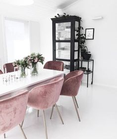 These chairs! Cabinet and chairs adding colour to a neutral space #homedecor #dinningtable #dinningroom
