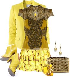 """Let's Do Yellow 1"" by sarah-k-davis ❤ liked on Polyvore"
