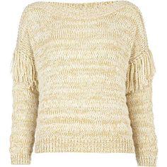 cream tassel sleeve jumper - jumpers - jumpers / cardigans - women - River Island