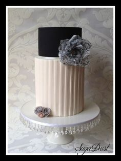 Black, White Cake Gorgeous Cakes, Pretty Cakes, Double Barrel Cake, Fondant Cake Designs, Crazy Cakes, Fancy Cakes, Wafer Paper Cake, Cute Birthday Cakes, Cupcake Cakes