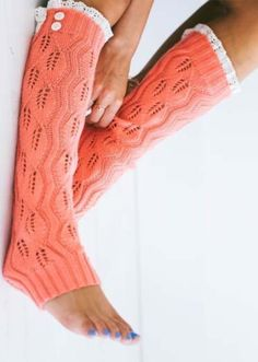 Lace Trim Knitted Leg Warmers-Coral - Buskins