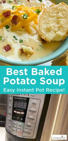 10 Minute Baked Potato Soup is one of the best Instant Pot Recipes! Easy Pressure Cooker Recipe ideas. LivingLocurto.com
