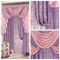 peach the blind Luxury fashion classical pink dodechedron purple quality embroidered cloth curtain customize Blinds(China (Mainland))