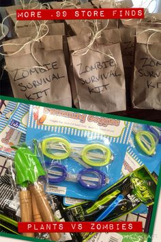 Zombie Survival Kit Goody Bags:  Goggles, Mini Gardening Tools and a Glow Whistle.