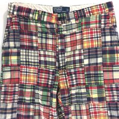 e4e7abcb35 Polo Ralph Lauren Madras Patchwork Plaid Pants Mens 32x27 Hemmed Cotton  India