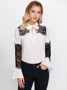 Lace Contrast Sleeve Tie Neck Blouse -SheIn(Sheinside)