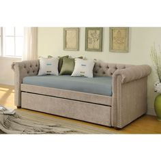 kensington beige fabric day bed with trundle shopping the best deals