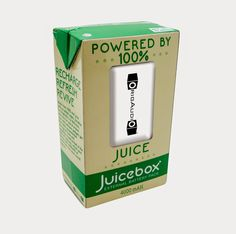 Juicebox External Battery Pack  Made from 100% real juice with no added sugar, Juicebox by OrigAudio is a delicious way to ensure your most precious gadgets get their daily recomended servings of fruits and vegetables. Hand-picked at the peak of freshness, refuel your devices with 4000 mAh of power that even mom would approve.