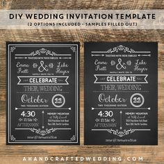 Save money on your invitations with these DIY Chalkboard Wedding Invitation Templates! ahandcraftedwedding.com #chalkboard #printable