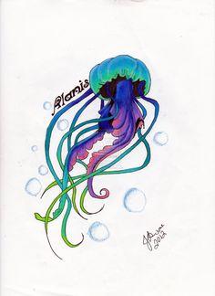 Jellyfish Tattoo Commision by JWulfric.deviantart.com on @deviantART