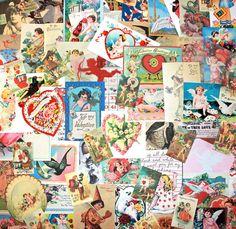 Valentines Ephemera Collage 75 Piece Paper Pack on Etsy, $16.95