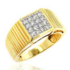 Mens Diamond Rolex Style Ring 0.56ct 14K Gold