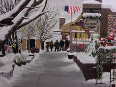 #acrylic #painting of a quaint little town on a snowy holiday evening.