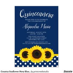 4a6b2a0966e1 Country Sunflower Navy Blue Quinceanera Invitation