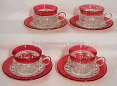 Set/ 4 KING'S CROWN / THUMBPRINT Ruby Red Cranberry Flash Cups & Saucers Size #1