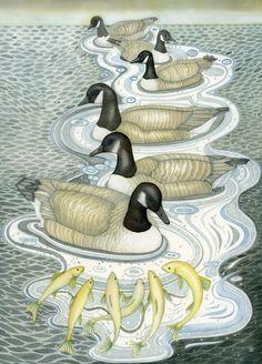 Fine art print of an original painting: 'Geese'. Kate Green, The Wild Geese, Autumn Illustration, Bird Design, Bird Art, Painting Techniques, Beautiful Birds, Sculpture Art, Fine Art Prints