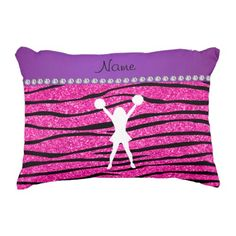 Name cheerleader neon not pink glitter zebra strip decorative pillow