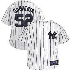 Majestic CC Sabathia New York Yankees #52 Infant Pinstripe Player Replica Jersey - White