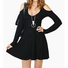 $27.96 Alluring Scoop Neck Wrapped Chest Cut Out Long Sleeve Women's Dress