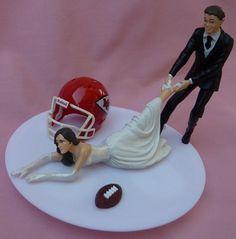 Kansas City Chiefs KC G Football Themed Wedding Cake Topper Garter  cakepins.com