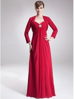 Empire Sweetheart Floor-Length Chiffon Mother of the Bride Dress With Ruffle Crystal Brooch (008002223) - JJsHouse