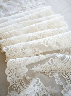 white lace trim retro embroidery gauze lace fabric by QFabrics