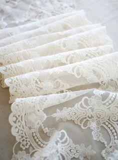 white lace trim retro embroidery gauze lace fabric by QFabrics