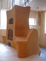 Sculptural Cob Bench / Masonry Stove