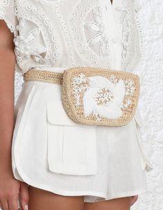 Zimmermann Emboidered Raffia Belt Bag. Model Image. Height 36 cmWidth 48 cm Handle drop 25 cm