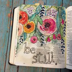 Bible journaling (also known as illustrated faith and documented faith) has been around for awhile, but in the recent months it has become the newest form of worship. Although some may cringe at the thought of writing in the Holy book Scripture Art, Bible Art, Book Art, Scripture Journal, Memory Journal, Art Journal Pages, Art Journals, Artist Journal, Bibel Journal