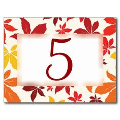 Bright Fall Leaves Wedding Table Number Post Card