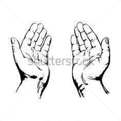 Sketch van Biddende handen tekenen realistische vectorillustratie