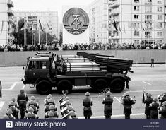 Military parade for the 29th anniversary of the GDR in Berlin, Germany, 07 October 1988. The grand tribune is pictured here. The GDR government used large events like these to demonstrate their military strength.