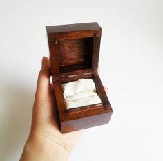Elegant wedding rings box/engagement ring box, wedding pillow, great as a male engagement ring box, dark brown, simple