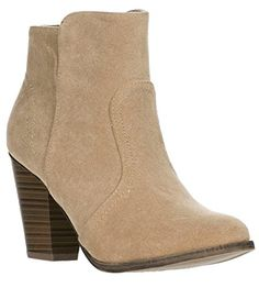 Breckelles Women's HEATHER-34 Faux Suede Chunky Heel Ankle Booties Taupe-new 10 B(M) US * Want to know more, click on the image.