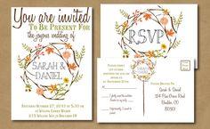 Autumnal Bliss -- Bohemian Autumn Wedding Invitation with RSVP postcard - Fall Wedding, Vintage Style
