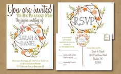 Autumnal Bliss -- Bohemian Autumn Wedding Invitation with RSVP postcard - Fall Wedding, Vintage Style