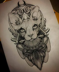 5 things you didn't know about hair-free CATS - How long you live? - 5 things you didn't know about hair-free CATS – How long you live? Sphinx Tattoo, Bastet Tattoo, Anubis Tattoo, Tattoo Sketches, Tattoo Drawings, Body Art Tattoos, Art Sketches, Sleeve Tattoos, Egyptian Cat Tattoos