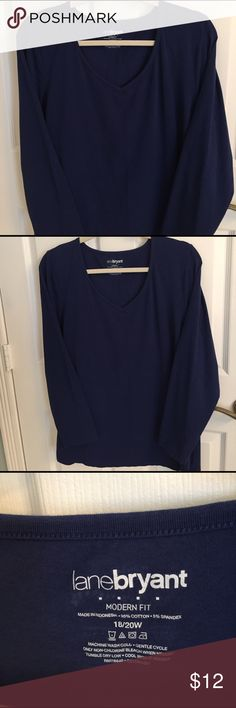 Lane Bryant Long Sleeve Cotton/Spandex top in Blue Long sleeve, lightweight stretch Cotton bee neck top by Lane Bryant. Excellent condition & hardly worn. Pretty Blue great to go with jeans... Lane Bryant Tops Tees - Long Sleeve