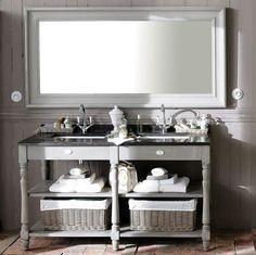 Specchio grigio in legno H 180 cm SULLY